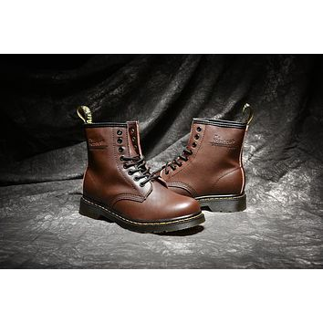 dr martens classic 8 holes high top men women boots color brown