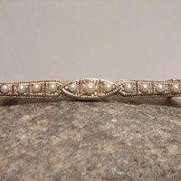 Art Deco Linear Bar Pin Vintage Pearl Line Brooch Jewelry Fashion Accessories For Her