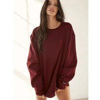 Champion Autumn new ladies round collar pure cotton set head of the letter classic simple style Wine red