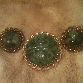 WINARD 12K DEMI Set Gold Filled Jade Scarab Brooch Earrings