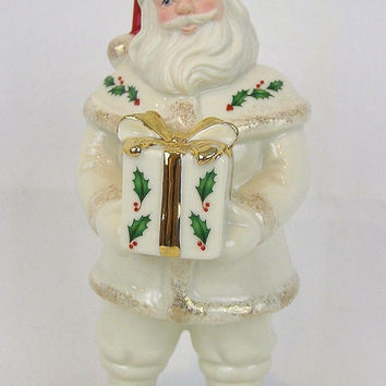 Santa's Holiday Gift Figurine Hand Painted 24 Gold Porcelain 7 inch