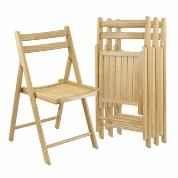 Classy Set of Four Folding Chairs by Winsome Woods