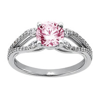Pink & white round diamonds wedding anniversary ring 2.61 carat white gold 14K