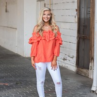 Tomato Orange Ruffle Top - Thirty One Boutique
