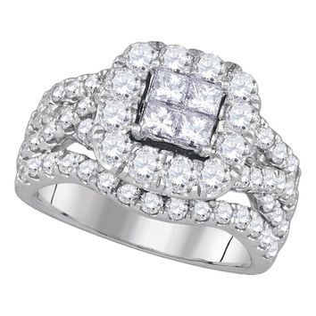 14kt White Gold Womens Princess Diamond Cluster Halo Twist Bridal Wedding Engagement Ring 2-1/2 Cttw