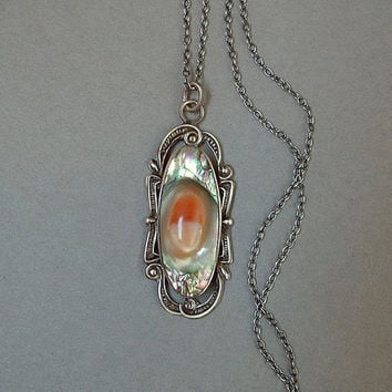 "Antique Art Nouveau Blister PEARL Pendant Lavaliere Necklace STERLING Silver 20"" CHAIN Hallmarks c.1900s"