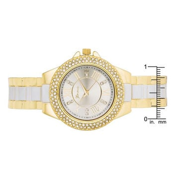 Gold Metal Cuff Watch With Crystals - White