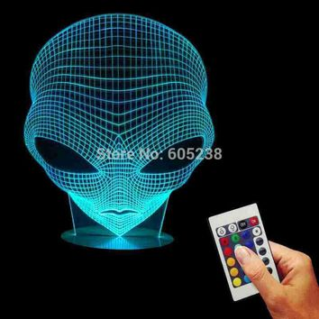Hologram stuff Free Shipping 1Piece 3D Hologram Illusion Pop-eyed Alien Shape Lamp Acrylic Night Lamp With Color Changing and Remote Controller