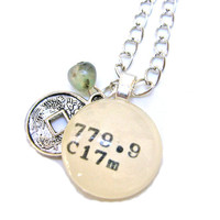 Japanese Coin and Jade Green Sesame Jasper Sterling Silver Dewey Decimal Librarian Necklace