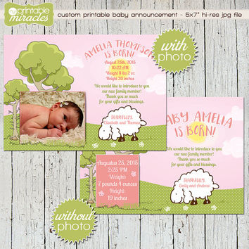 Pink sheep baby announcement, Lamb birth announcement card with photo, Baby girl birth announcement,