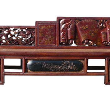 Chinese Vintage Fujian Scenery Carving Daybed Couch Chaise cs1154S