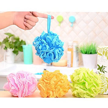 God's Hand 3 Pack of Bath Loofah Pouf Large Mesh and lace Body Sponges Scrubber for Shower Men Women,random Color