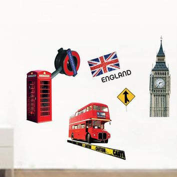 DIY London Big Ben Double Deck Bus England Flag Spectacles Wall Stickers Kids Rooms Bedroom Adesivo De Parede Boy Decoration