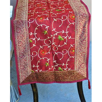 "Burgundy Luxury Silk Table Runner with Brocade Border in Antique Gold 80"" x 20"""