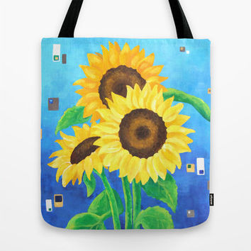 Large Tote, Sunflowers on Blue, Art Print Tote
