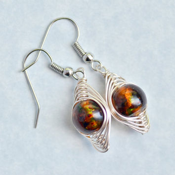 Amber Brown, Glass Bead, Drop Herringbone Earrings, Womens Jewelry