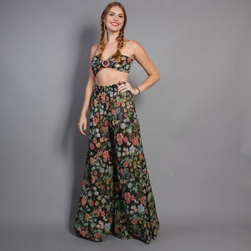 70s PALAZZO Pants & BRA TOP / 2pc Floral Gauze Jumpsuit, xs-s