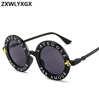 ZXWLYXGX 2018 new sunglasses small bees round frame sunglasses men and women fashion glasses trend sunglasses UV400