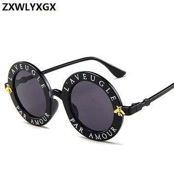 57028e915b1f ZXWLYXGX new sunglasses small bees round frame sunglasses men an