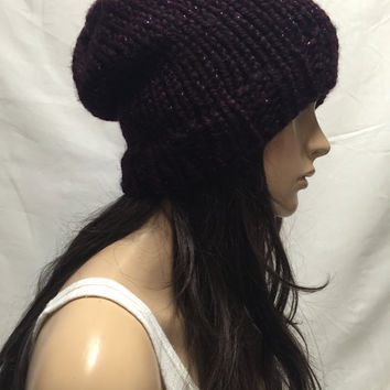 Knit Slouchy Hat Beanie Sparkly Purple Galaxy Warm And Cozy