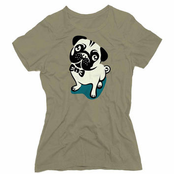 Cute Pug Graphic Tee (mj-os-NL3900-pug-mltclr)