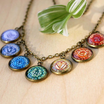 Seven Energy Levels Chakra Necklace | Hindu Jewelry | Antique Bronze Necklace | Yoga | Chakra Jewelry | Spiritual Icon | Rainbow Jewelry
