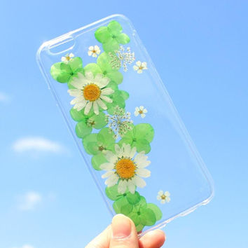 Green Petal Chrysanthemum Case 100% Handmade Dried Flowers Cover for iPhone 7 7Plus & iPhone 6 6s Plus + Gift Box B61