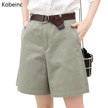 Kobeinc 2017 Summer Women Shorts Loose OL High Waist Pantalones Mujer Fashion Wide Leg Short Pants All-Match 5 Colors Cortos