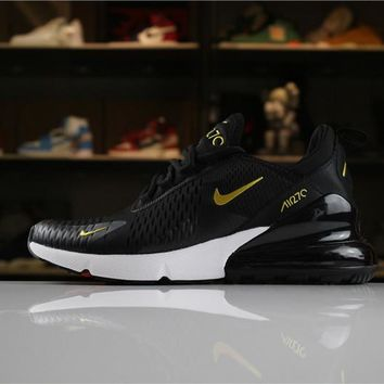 Nike Air Max 270 Black Gold White Sport Running Shoes - Best Online Sale