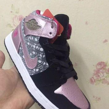 DCCKIJ2 Women's Nike Air Jordan 1 Retro High Leather Basketball Shoes Black Pink