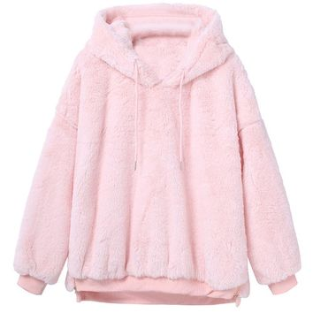 FeiTong Sweatshirt Women Hoodies Sweat Femme Winter Warm Fluffy Fleece Fur Coat Hooded Female Sweatshirts