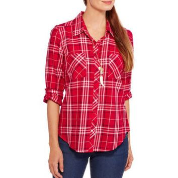 Faded Glory Women's Button Front Plaid Shirt - Walmart.com