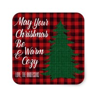 Cozy Watercolor Red Christmas Plaid Personalized Square Sticker