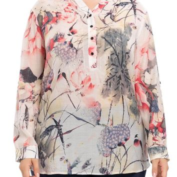 Women's Plus Size Ink-Wash Painting Printed Blouse