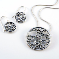 Pomegranate pendant handmade in solid sterling silver (with or without dark patina) unique bubble necklace in circle design in size large