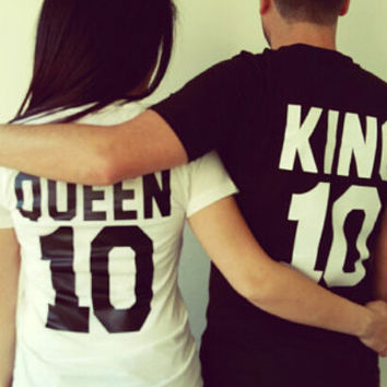 Queen10 King10 Print T-Shirts for Women Lovers Cosy Cotton Top +Free Gift -Random Necklace-105
