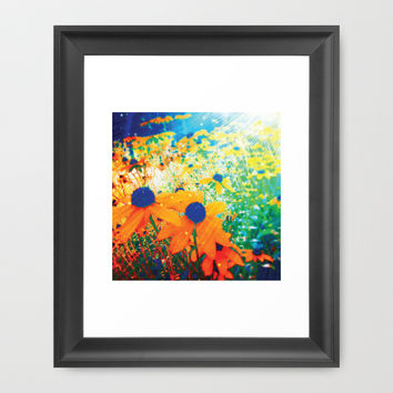 Flowers in the Sun Framed Art Print by NisseDesigns