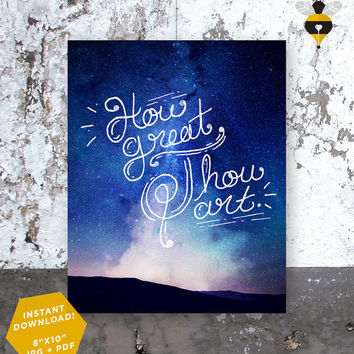 "How Great Thou Art - Stars - Digital Printable Christian Lyric Hymn Wall Art Decor Poster 8""x10"""