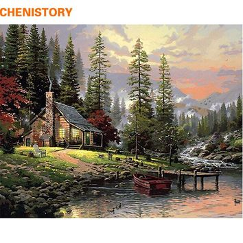 CHENISTORY DIY Painting By Numbers Home Decor Hand Painted Landscape Canvas Painting Unique Wall Art Picture 40*50cm Countryside