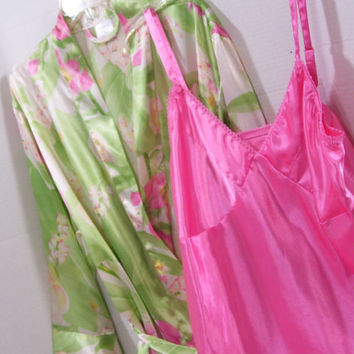 Satin Peignoir Set Robe and Chemise Nightgown By Cabernet