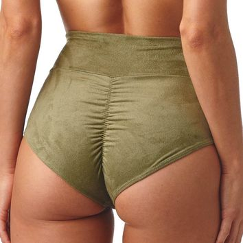 Olive Faux Suede Added Coverage High Rise Bikini Bottom