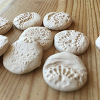 Aroma Diffusing Stones for Essential oils handcrafted stoneware stamped