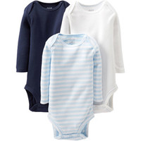 Walmart: Child of Mine by Carter's Newborn Baby Boy Long Sleeve Bodysuits, 3-Pack