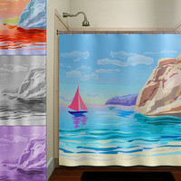 beach scene cove sail boat yacht shower curtain bathroom decor fabric kids bath white black custom duvet cover rug mat window