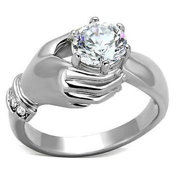 WildKlass Stainless Steel Novelty Ring High Polished (no Plating) Women AAA Grade CZ Clear