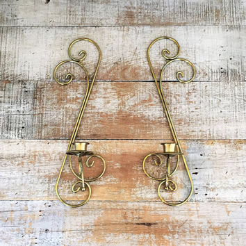 Candle Sconces Pair of Brass Sconce Vintage Wall Candle Holders Mid Century Candlestick Holder Wall Mount Sconces Hollywood Regency