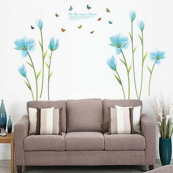 Wallpaper Borders Butterfly Wall Stickers Tulip Flowers Artificial Flowers Living Room Bedroom Blue Sticker Removable Sticker