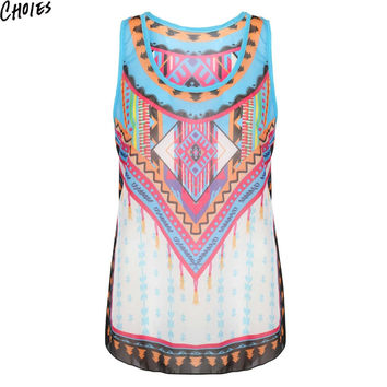 Women Multicolor Vintage Geo Tribal Print Racer Back Casual Tank Top Vest 2016 New Fashion Summer O Neck Sleeveless Ethnic Tops