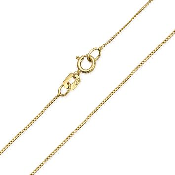 Cuban Curb Chain 14K Yellow REAL Gold 018 Gauge Necklace Made In Italy
