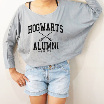Hogwarts Alumni Shirts Harry Potter Shirts Bat Sleeve Shirts Crop Shirts Long Sleeve TShirts Oversized Sweatshirt Women Shirts - FREE SIZE